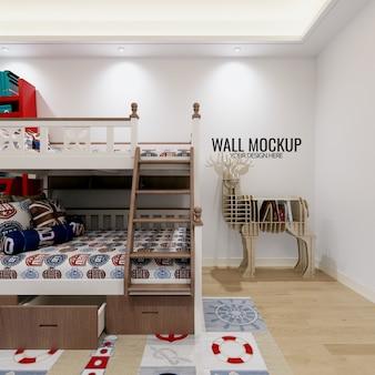 Wewnętrzna ściana sypialni dziecka z dekoracjami