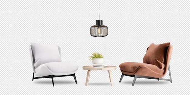 Wewnętrzny salon w makiecie renderowania 3d