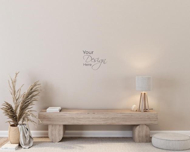 Wewnętrzny salon z makietą ściany ławki