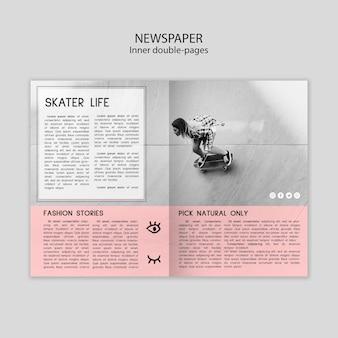 Wewnętrzny szablon podwójnych stron gazet ze zdjęciami