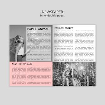 Wewnętrzny szablon podwójnych stron gazety z różnymi zdjęciami