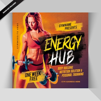 Węzeł energetyczny fitness instagram post lub banner