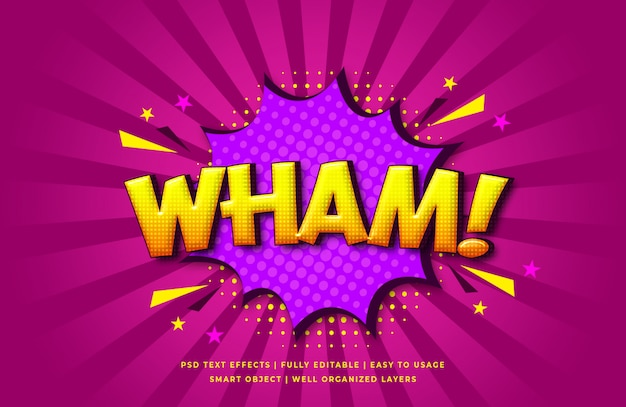 Wham comic speech 3d text style effect