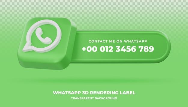 Whatsapp 3d renderowania baner na białym tle