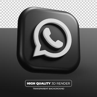Whatsapp czarna ikona 3d renderowania na białym tle