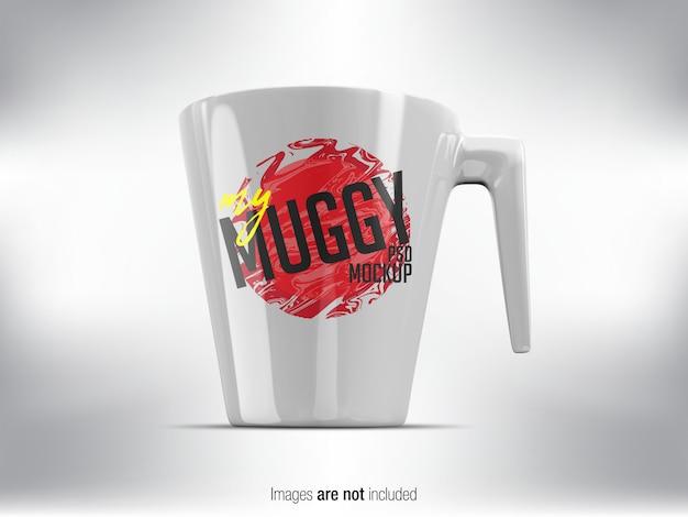 White mug psd mock-up widok z przodu