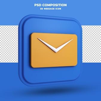 Wiadomość ikona renderowania 3d na białym tle
