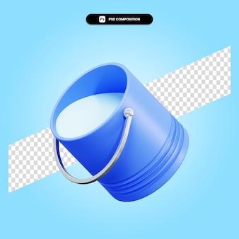 Wiadro 3d render ilustracja na białym tle