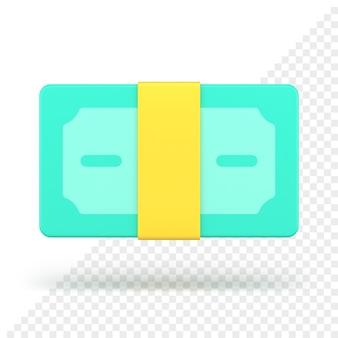 Wiązka banknotów zapieczętowana taśmą renderowania 3d. zielona gotówka związana z żółtym paskiem papieru. zysk finansowy i bogate inwestycje. dobrze prosperująca gospodarka z udanymi inwestycjami biznesowymi.