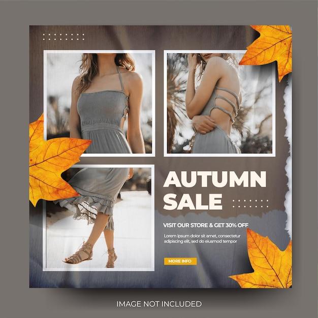 Wibrująca brązowa jesienna wyprzedaż mody instagram social media post feed