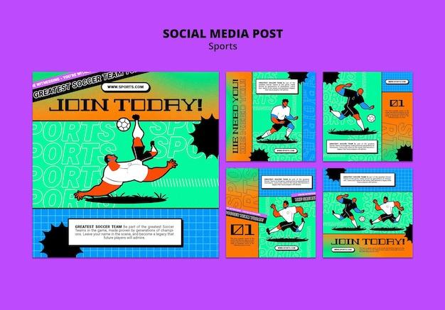 Wibrujący ilustracyjny szablon piłki nożnej w mediach społecznościowych