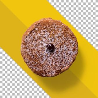 Widok do góry chrupiące ciastko na białym tle