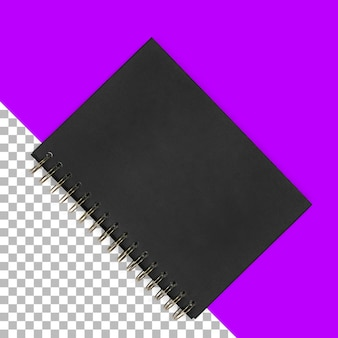 Widok do góry na białym tle czarny notatnik