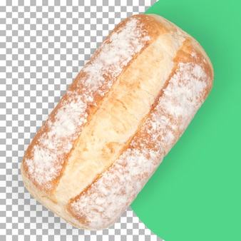 Widok doładowania na białym tle świeży gorący chleb