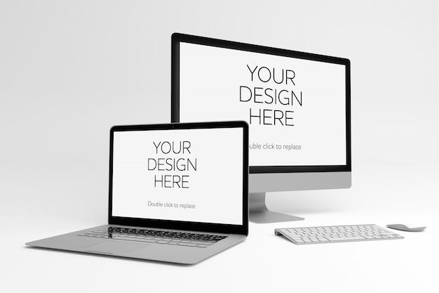 Widok makiety laptopa i komputera