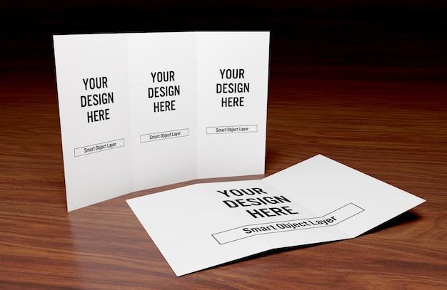 Widok potrójnej broszury na temat makiety drewnianego stołu
