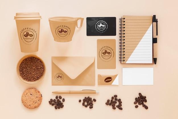 Widok z góry aranżacja marki kawy