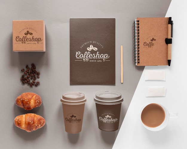 Widok z góry asortymentu marki kawy