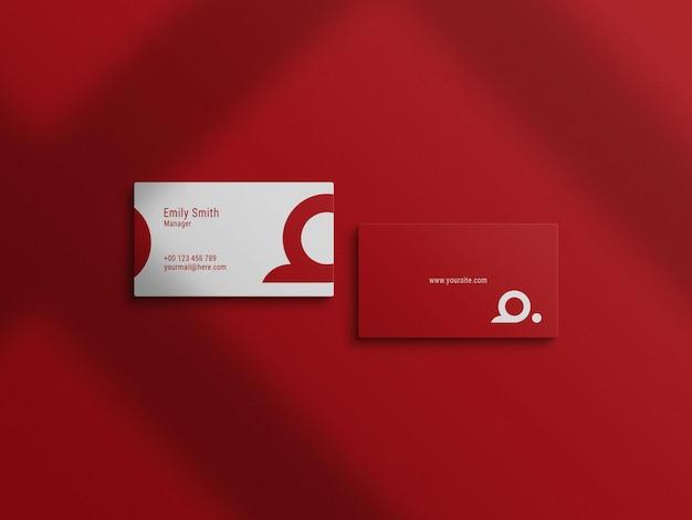 Widok z góry czerwona makieta wizytówki
