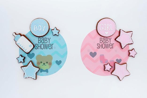 Widok z góry kolorowe ozdoby baby shower
