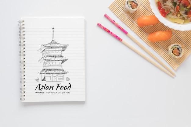 Widok z góry koncepcja azjatyckie jedzenie