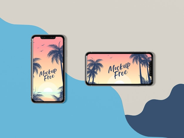 Widok z góry koncepcja lato z telefonami