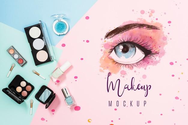 Widok z góry koncepcji makiety makijażu