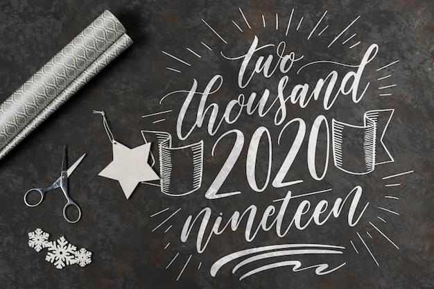 Widok z góry koncepcji szczęśliwego nowego roku