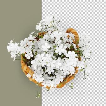 Widok z góry kosz na kwiaty w renderowaniu 3d