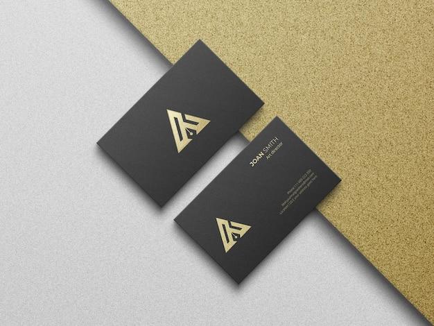 Widok z góry luksusowa wizytówka i makieta logo
