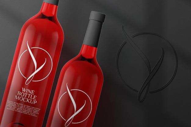Widok z góry makieta butelki czerwonego wina na białym tle