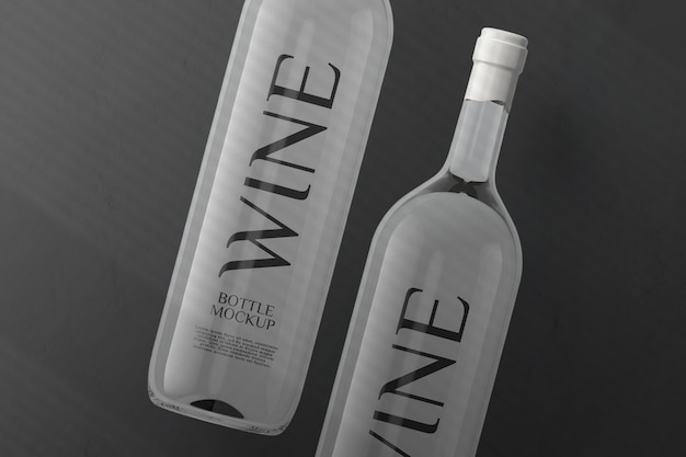 Widok z góry makieta butelki wina białego na białym tle