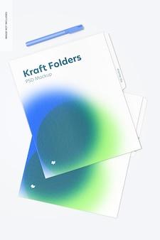 Widok z góry makieta folderów kraft