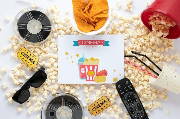 Widok z góry makieta kina z popcornem