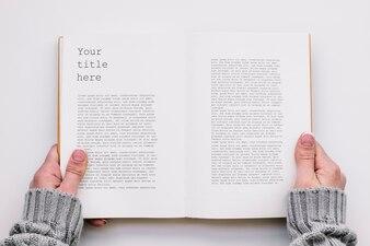 Widok z góry makieta książki otwarte