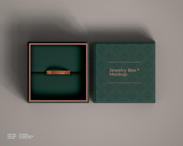 Widok z góry makieta pudełko z biżuterią