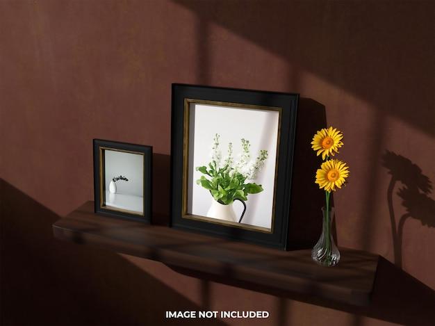 Widok z góry makieta realistyczna ramka na zdjęcia z kwiatem