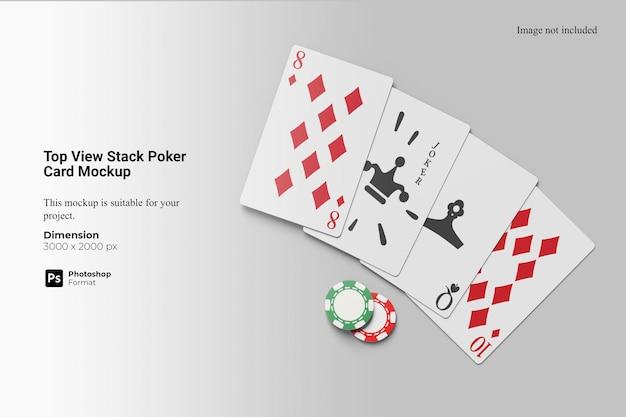 Widok z góry makieta stosu kart pokerowych