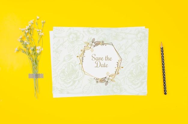 Widok z góry makieta zaproszenia ślubne