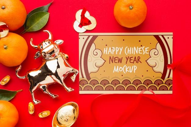 Widok z góry makiety chińskiego nowego roku