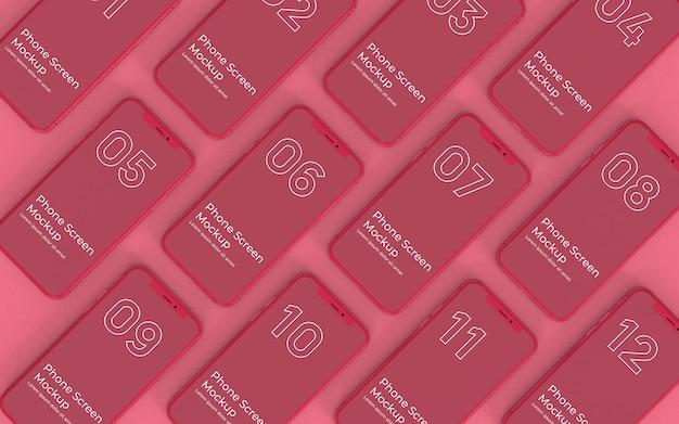 Widok z góry makiety ekrany czerwony telefon