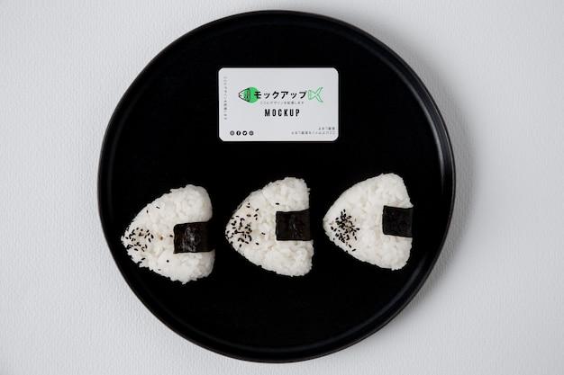 Widok z góry makiety koncepcji azjatyckiego jedzenia