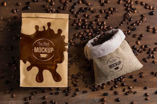 Widok z góry makiety koncepcji kawy
