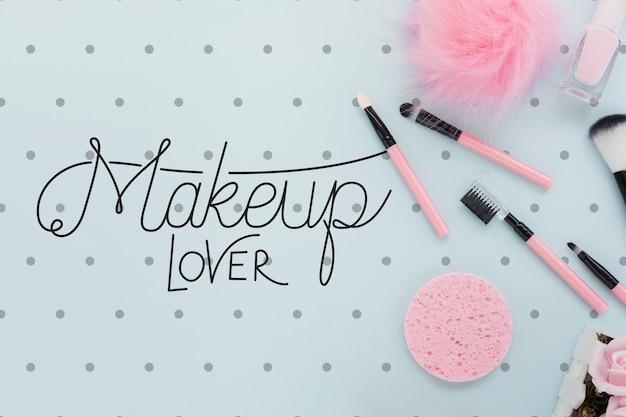 Widok z góry makiety koncepcji makijażu