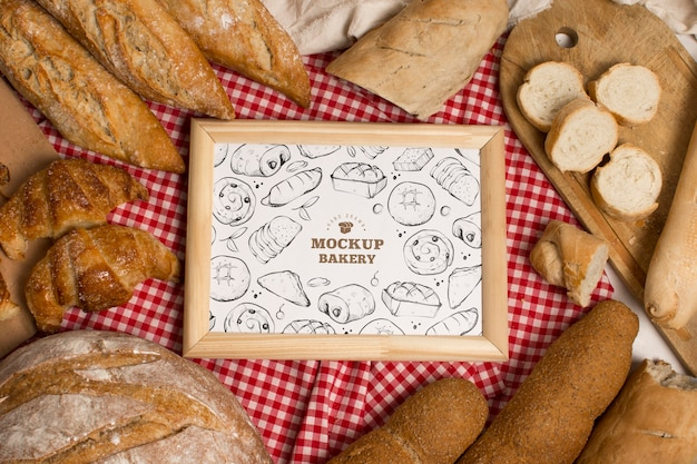 Widok z góry makiety koncepcji piekarni