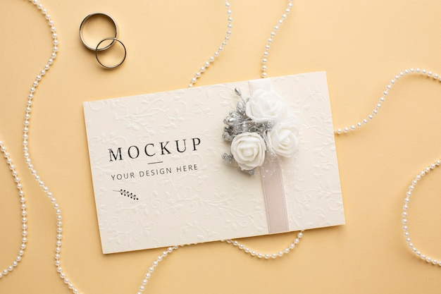 Widok z góry makiety koncepcji pięknego ślubu