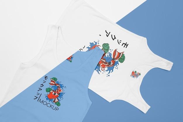 Widok z góry makiety koncepcji t-shirt