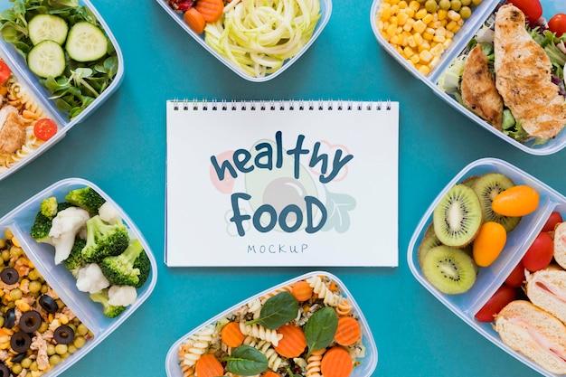 Widok z góry makiety zdrowej żywności