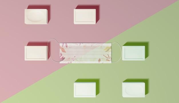 Widok z góry mydła i układ masek