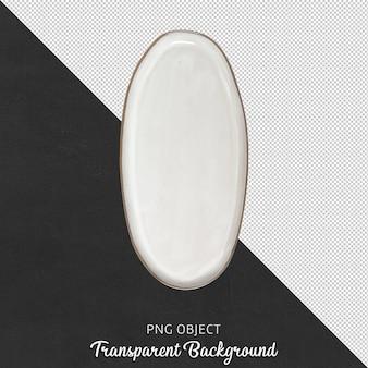 Widok z góry na asymetryczną białą płytkę na białym tle